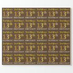 "[ Thumbnail: Brown, Imitation Gold Look ""13th Birthday"" Wrapping Paper ]"