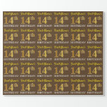 "[ Thumbnail: Brown, Imitation Gold Look ""14th Birthday"" Wrapping Paper ]"