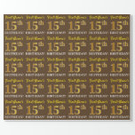 "[ Thumbnail: Brown, Imitation Gold Look ""15th Birthday"" Wrapping Paper ]"