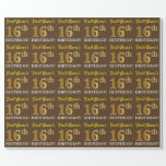 "[ Thumbnail: Brown, Imitation Gold Look ""16th Birthday"" Wrapping Paper ]"