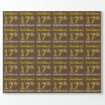 "[ Thumbnail: Brown, Imitation Gold Look ""17th Birthday"" Wrapping Paper ]"