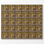 "[ Thumbnail: Brown, Imitation Gold Look ""18th Birthday"" Wrapping Paper ]"