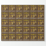 "[ Thumbnail: Brown, Imitation Gold Look ""19th Birthday"" Wrapping Paper ]"