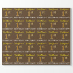 "[ Thumbnail: Brown, Imitation Gold Look ""1st Birthday"" Wrapping Paper ]"