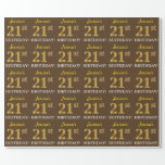 "[ Thumbnail: Brown, Imitation Gold Look ""21st Birthday"" Wrapping Paper ]"