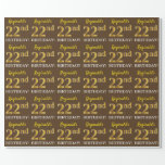 "[ Thumbnail: Brown, Imitation Gold Look ""22nd Birthday"" Wrapping Paper ]"