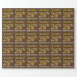 "[ Thumbnail: Brown, Imitation Gold Look ""26th Birthday"" Wrapping Paper ]"