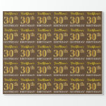 "[ Thumbnail: Brown, Imitation Gold Look ""30th Birthday"" Wrapping Paper ]"