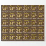 "[ Thumbnail: Brown, Imitation Gold Look ""34th Birthday"" Wrapping Paper ]"