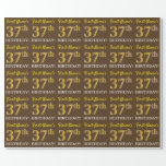 "[ Thumbnail: Brown, Imitation Gold Look ""37th Birthday"" Wrapping Paper ]"