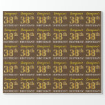 "[ Thumbnail: Brown, Imitation Gold Look ""38th Birthday"" Wrapping Paper ]"