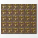 "[ Thumbnail: Brown, Imitation Gold Look ""3rd Birthday"" Wrapping Paper ]"