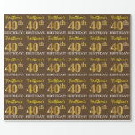 "[ Thumbnail: Brown, Imitation Gold Look ""40th Birthday"" Wrapping Paper ]"