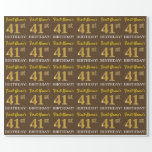 "[ Thumbnail: Brown, Imitation Gold Look ""41st Birthday"" Wrapping Paper ]"