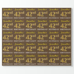 "[ Thumbnail: Brown, Imitation Gold Look ""42nd Birthday"" Wrapping Paper ]"