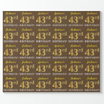 "[ Thumbnail: Brown, Imitation Gold Look ""43rd Birthday"" Wrapping Paper ]"