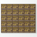"[ Thumbnail: Brown, Imitation Gold Look ""44th Birthday"" Wrapping Paper ]"