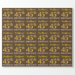 "[ Thumbnail: Brown, Imitation Gold Look ""45th Birthday"" Wrapping Paper ]"