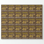 "[ Thumbnail: Brown, Imitation Gold Look ""46th Birthday"" Wrapping Paper ]"