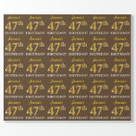 "[ Thumbnail: Brown, Imitation Gold Look ""47th Birthday"" Wrapping Paper ]"