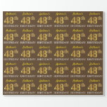 "[ Thumbnail: Brown, Imitation Gold Look ""48th Birthday"" Wrapping Paper ]"