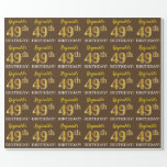 "[ Thumbnail: Brown, Imitation Gold Look ""49th Birthday"" Wrapping Paper ]"