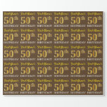 "[ Thumbnail: Brown, Imitation Gold Look ""50th Birthday"" Wrapping Paper ]"