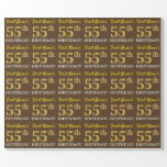 "[ Thumbnail: Brown, Imitation Gold Look ""55th Birthday"" Wrapping Paper ]"