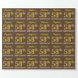 "[ Thumbnail: Brown, Imitation Gold Look ""58th Birthday"" Wrapping Paper ]"