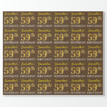 "[ Thumbnail: Brown, Imitation Gold Look ""59th Birthday"" Wrapping Paper ]"