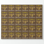 "[ Thumbnail: Brown, Imitation Gold Look ""70th Birthday"" Wrapping Paper ]"