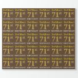 "[ Thumbnail: Brown, Imitation Gold Look ""71st Birthday"" Wrapping Paper ]"