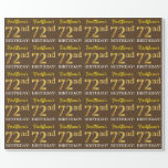 "[ Thumbnail: Brown, Imitation Gold Look ""72nd Birthday"" Wrapping Paper ]"