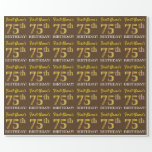 "[ Thumbnail: Brown, Imitation Gold Look ""75th Birthday"" Wrapping Paper ]"