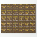"[ Thumbnail: Brown, Imitation Gold Look ""76th Birthday"" Wrapping Paper ]"