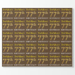 "[ Thumbnail: Brown, Imitation Gold Look ""77th Birthday"" Wrapping Paper ]"