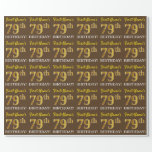 "[ Thumbnail: Brown, Imitation Gold Look ""79th Birthday"" Wrapping Paper ]"