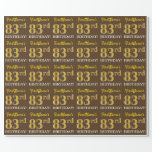 "[ Thumbnail: Brown, Imitation Gold Look ""83rd Birthday"" Wrapping Paper ]"