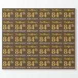 "[ Thumbnail: Brown, Imitation Gold Look ""84th Birthday"" Wrapping Paper ]"