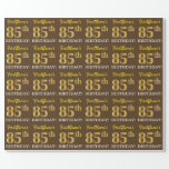 "[ Thumbnail: Brown, Imitation Gold Look ""85th Birthday"" Wrapping Paper ]"