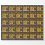 "[ Thumbnail: Brown, Imitation Gold Look ""86th Birthday"" Wrapping Paper ]"