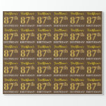 "[ Thumbnail: Brown, Imitation Gold Look ""87th Birthday"" Wrapping Paper ]"