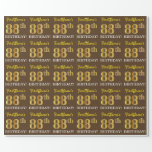 "[ Thumbnail: Brown, Imitation Gold Look ""88th Birthday"" Wrapping Paper ]"