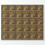 "[ Thumbnail: Brown, Imitation Gold Look ""8th Birthday"" Wrapping Paper ]"