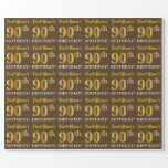 "[ Thumbnail: Brown, Imitation Gold Look ""90th Birthday"" Wrapping Paper ]"