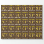 "[ Thumbnail: Brown, Imitation Gold Look ""91st Birthday"" Wrapping Paper ]"