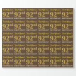 "[ Thumbnail: Brown, Imitation Gold Look ""92nd Birthday"" Wrapping Paper ]"