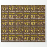 "[ Thumbnail: Brown, Imitation Gold Look ""93rd Birthday"" Wrapping Paper ]"