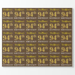 "[ Thumbnail: Brown, Imitation Gold Look ""94th Birthday"" Wrapping Paper ]"