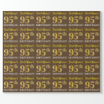"[ Thumbnail: Brown, Imitation Gold Look ""95th Birthday"" Wrapping Paper ]"